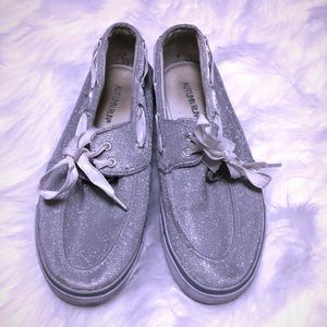 Shoes - BLING SILVER SPERRY TYPE LOAFERS PLATFORMS